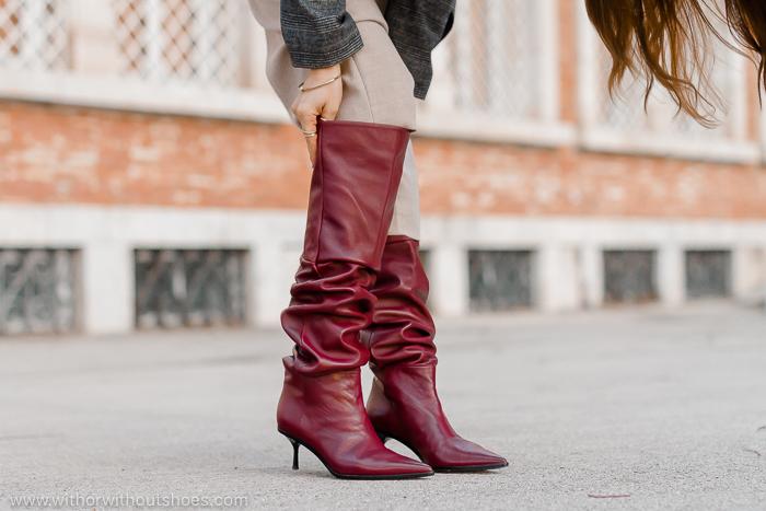 botas altas tipo slouchy color burdeos de AGL