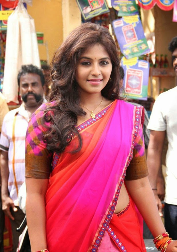 Glamorous Photos Of Anjali In Red Half Saree