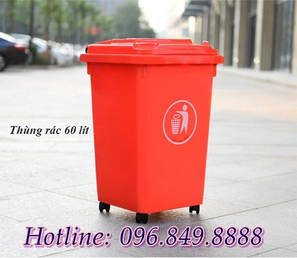 Thùng rác nhựa HDPE 60 lit nắp kín