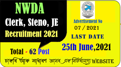 NWDA Recruitment 2021 for Clerk, Steno, JE Positions