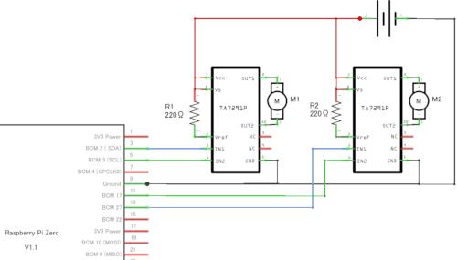 Raspberry Pi Zero WHとTA7291Pの回路図