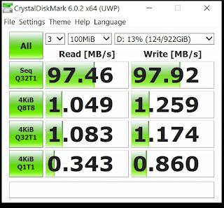 hasil test speed HDD external + OTG 3.0 Type C