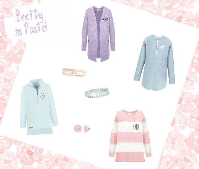 Trendy, personalized pastels from Marleylilly.com perfect for staying fashionable during the transition from winter to spring