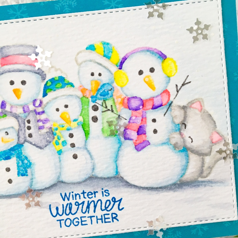 No-line Watercoloring Snowman Card by November Guest Designer Ashley Ebben | Frosty Folks & Newton's Curious Christmas Stamp Sets by Newton's Nook Designs