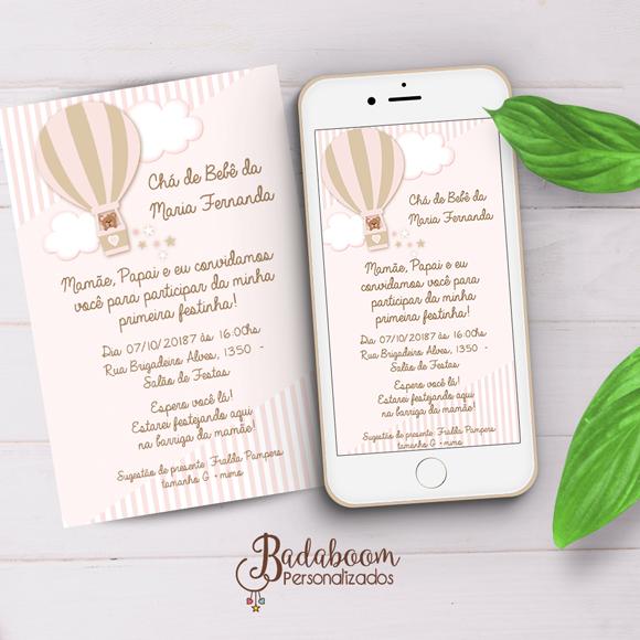 Ursa, chá de bebe, cha de fraldas, convite, convite digital, convite whatsapp, convite para imprimir, balão, balão rosa, balonismo