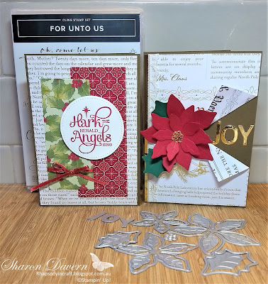 Rhapsody in Craft, Heart of Christmas 2020, For Unto Us, Poinsettia Dies, Poinsettia, Playful Alphabet Dies, Christmas Cards, #heartofchristmas2020, Stampin' Up! #loveitchopit