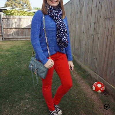 awayfromtheblue Instagram | navy and red skinny jeans outfit with matching scarf rebecca minkoff mini mac bag mum style school run winter