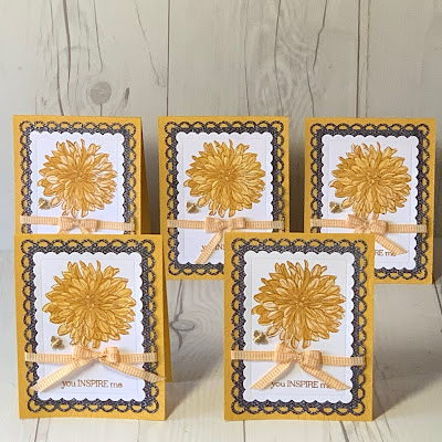 Collection of floral greeting cards using the Stampin' Up! delicate Dahlias Stamp set from the second Sale-A-Bration event 2021
