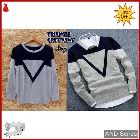 AND314 Sweater Pria Triangel Grey Biru Navy BMGShop