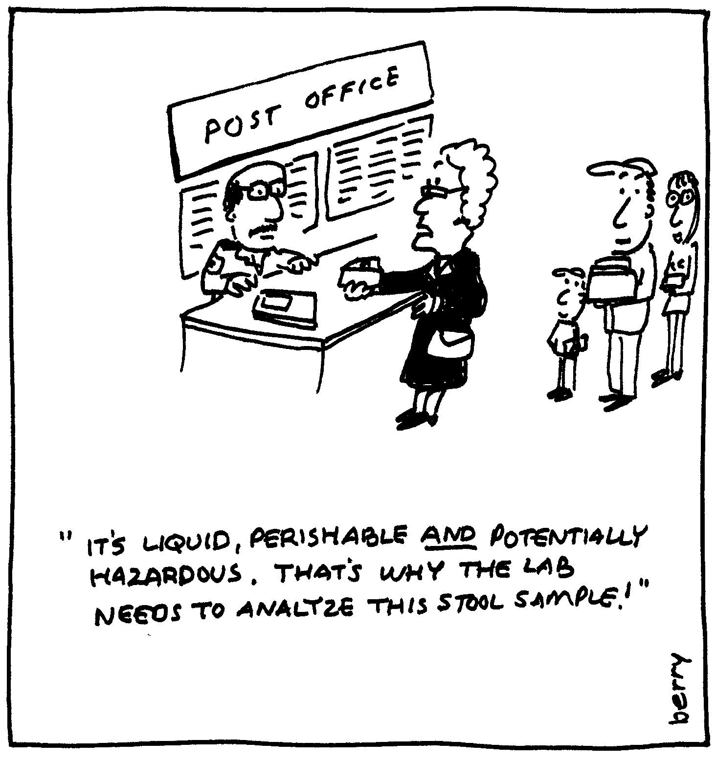 berry cartoons: post office cartoon