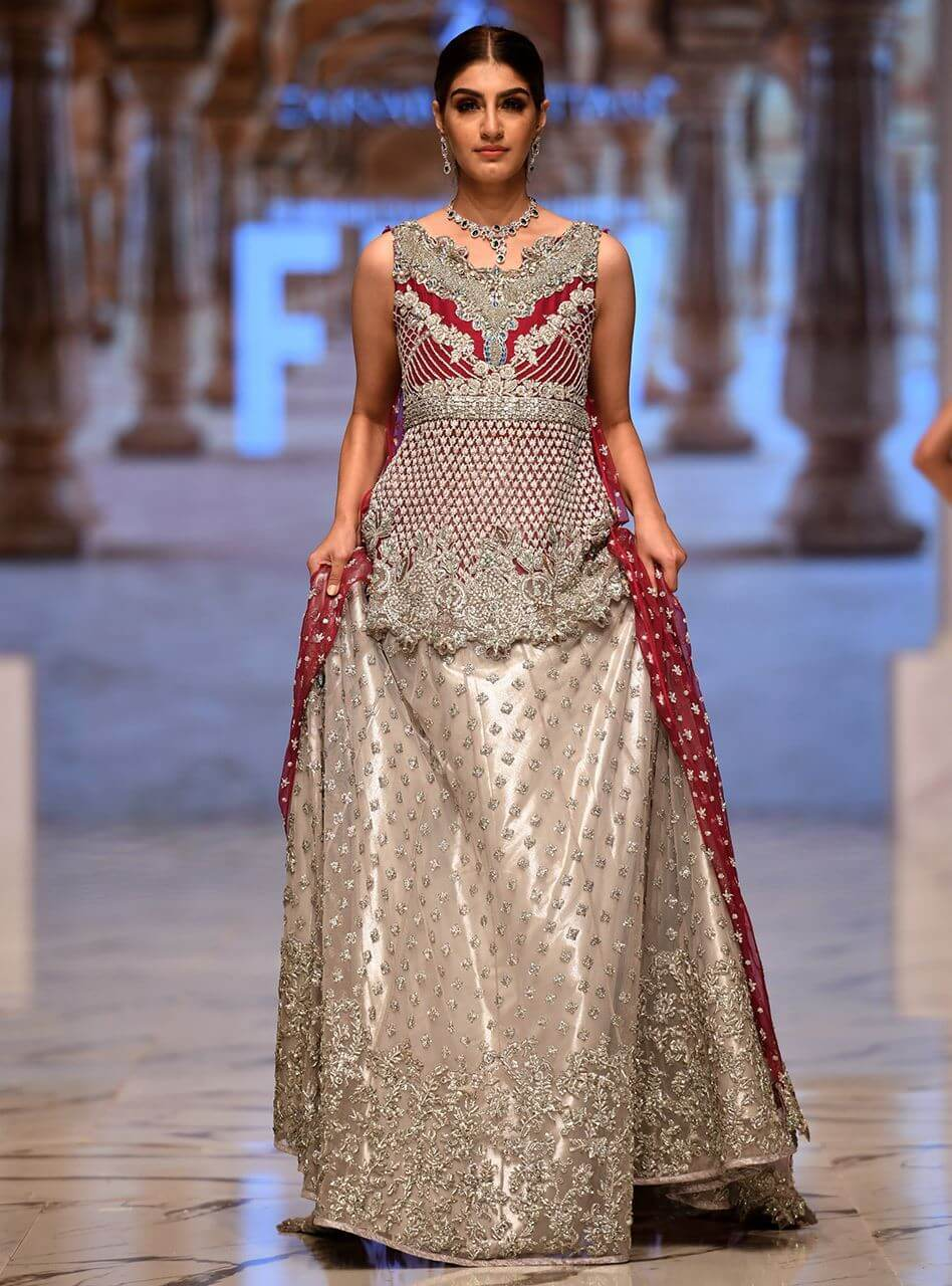 Silver and Magenta Bridal Cape with Sharara by Zainab Chottani Bridal Collection