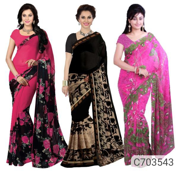 Best Georgette Printed Regular Indian Sarees Pack of 3 Buy at Rs 904 Online for Diwali festival Offers