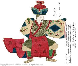 Bugaku Rindai an old picture : (伝承絵)舞楽「輪台」