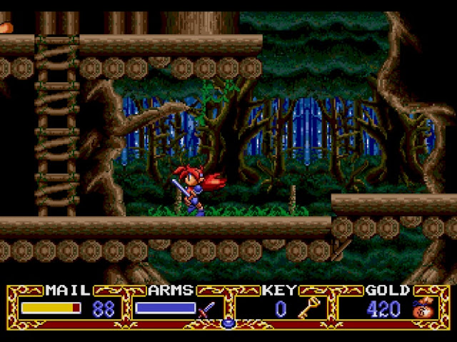 A screenshot in the game wherein Popful Mail is wandering around in a multi-leveled forest.