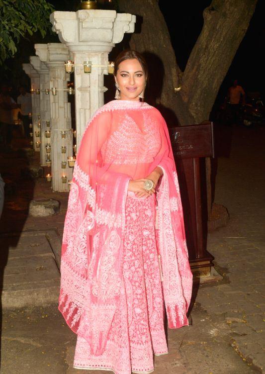 Actress Sonakshi Sinha In Red Dress