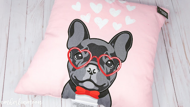 Square Dog Valentine's Day Pillow Pink - Spritz