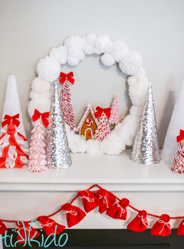 Yarn Pom Pom Christmas Wreath with Felt Gingerbread House