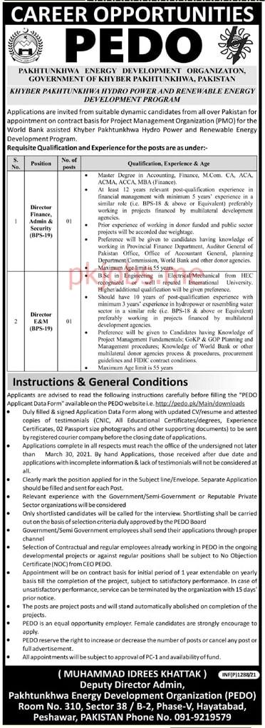 Latest Pakhtunkhwa Energy Development Organization Management Posts 2021