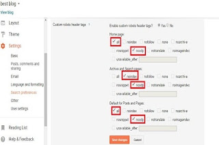 blogger seo setting,custom robots header tags