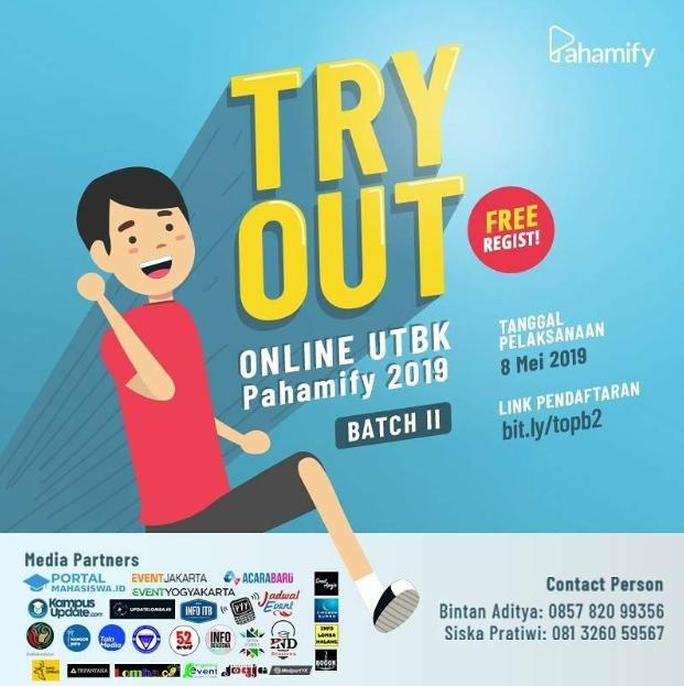 Pendaftaran Try Out UTBK 2019, Gratis di Pahamify