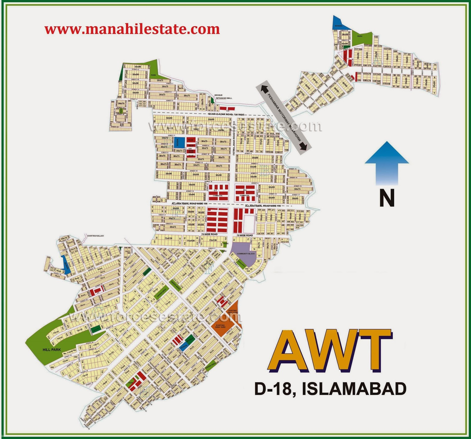 Awt d-18 islamabad map manahil estate.