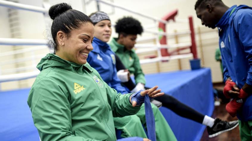 Flávia Figueiredo após treino com a seleção brasileira de boxe