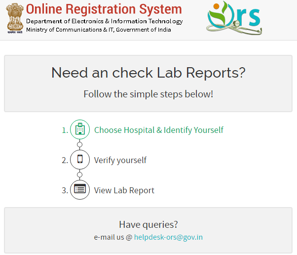 Online Registration System steps for Getting lab Reports