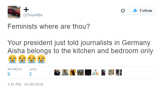"9 Nigerians react to Buhari's comment that his wife ""belongs to the kitchen, living room"" news"