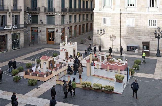 Presépio Plaza de Sant Jaume em Barcelona