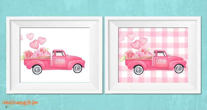 Four Watercolor Valentine Truck Printables
