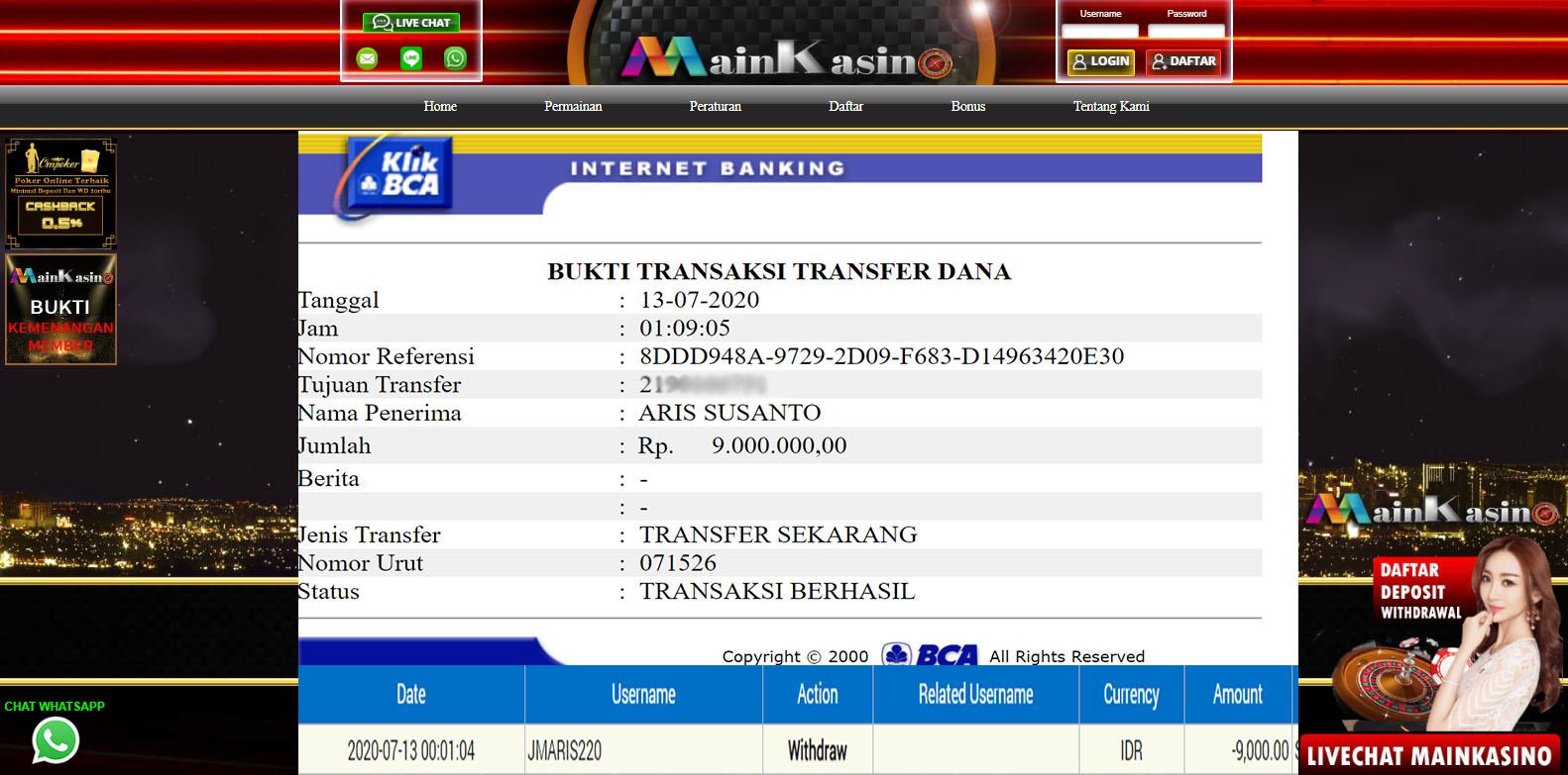 Selamat Kepada Member Setia MAIN KASINO Withdraw RP  9.000.000