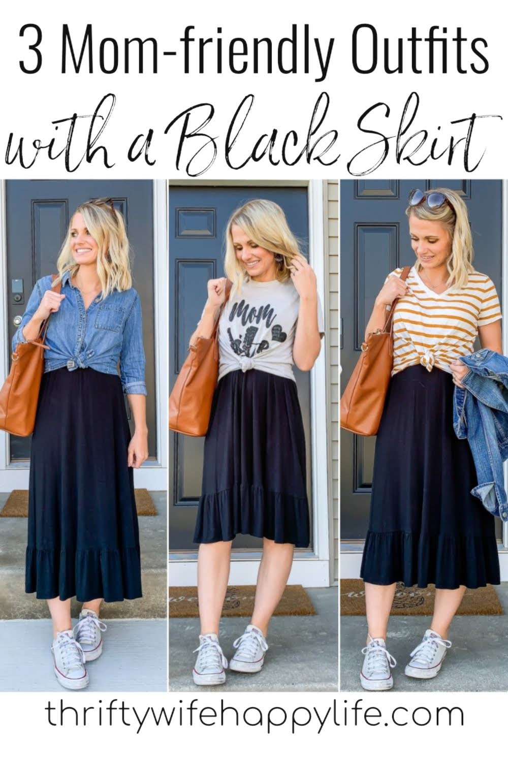 3 Mom-Friendly Outfits with a Black Skirt