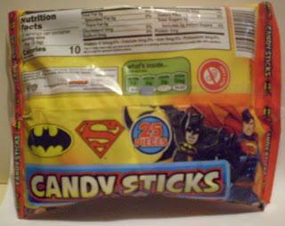 Back of the Superman Batman Candy Sticks bag