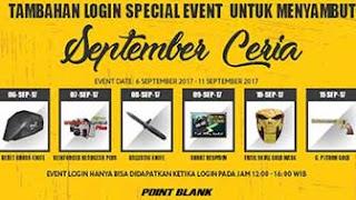 Event Login Spesial PB Garena September Ceria Hadiah Item dan Senjata Gratis Hingga 11 September 2017