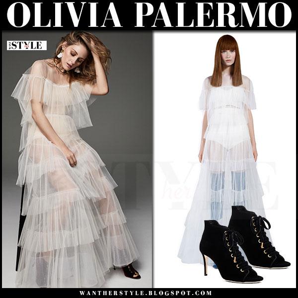 Olivia Palermo in sheer ruffled top and sheer ruffled maxi skirt editorial november 2016 what she wore