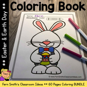 Easter Coloring Pages and Earth Day Coloring Pages Bundle - 61 Pages of Fun