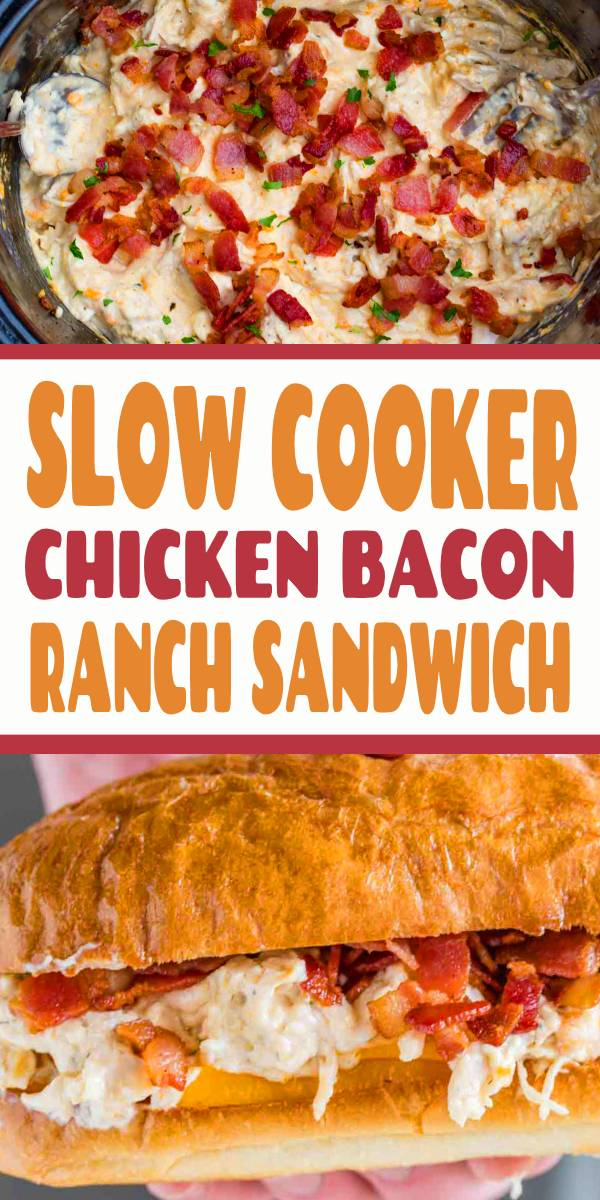 "Slow Cooker Chicken Bacon Ranch Sandwiches, also sometimes referred to as ""crack chicken"" are made with bacon, cream cheese, chicken, cheddar cheese and ranch seasonings and they're a family favorite! #slowcooker #crockpot #chicken #bacon #dinner #sandwich"