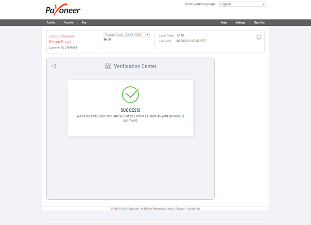 How to apply for payoneer master card from nepal