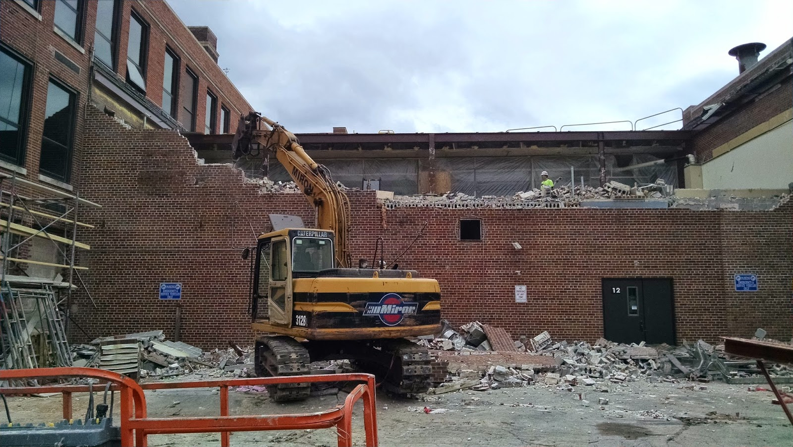 Library outside wall being removed
