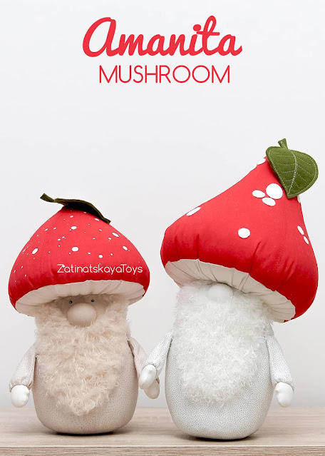 two Mushroom Christmas gnomes with closed and open eyes by sewing patterns of Zatinatskaya Natalia