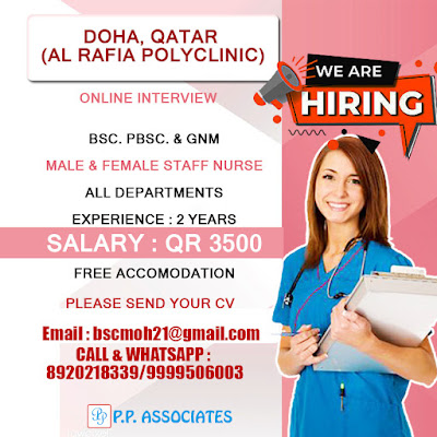 URGENTLY REQUIRED MALE AND FEMALE NURSES TO QATAR
