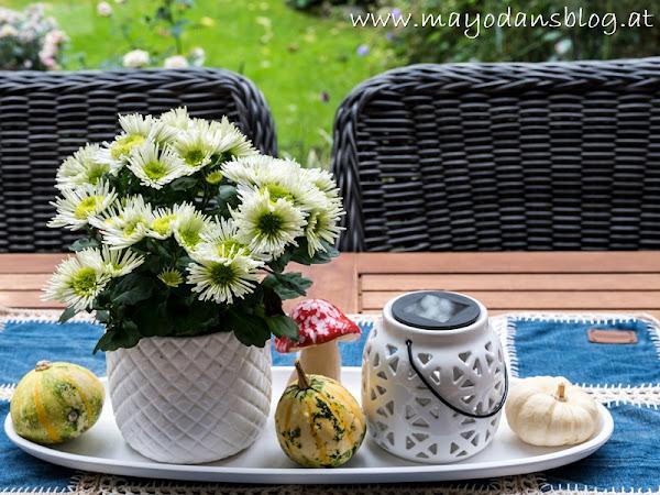 Upcycling - Von der Jeans zum Tischläufer und Herbstdeko im Wintergarten