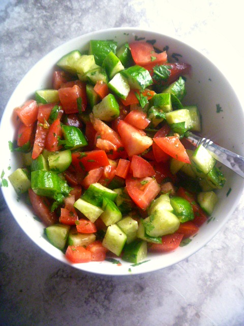 Simple Mediterranean Salad: 6 simple ingredients and you can create the best Mediterranean Salad.  It's light and fresh and will likely become a summer staple! - Slice of Southern