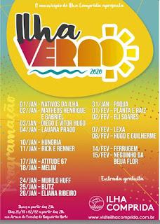 Ilha Comprida anuncia programação de shows do Ilha Verão 2020