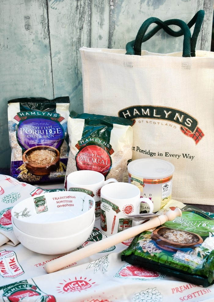 Hamlyn's Great Big Oat Giveaway Bundle including oats, a woven shopping bad, a wooden spurtle and a few items by Scottish designer Gillian Kyle. Two cereal bowls, two mugs, a teatowel and an apron.