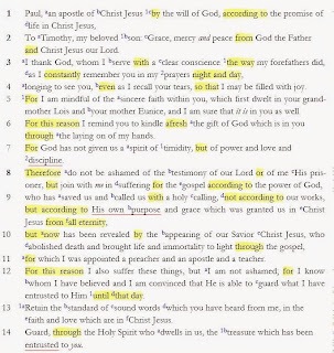 Structure in 2 Timothy 1 – Part 9