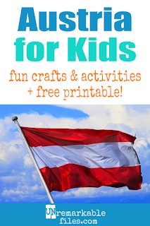 Learning about Austria is fun and hands-on with these free crafts, ideas, and activities for kids! Covers Austrian history and famous people, the flag of Austria, Austrian composers, traditional Austrian recipes, and the culture and music of Vienna. #austria #educational #aroundtheworld #kids