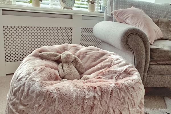 Dusky blush rose pink faux fur bean bag