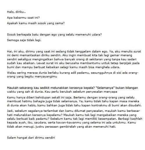 Contoh Surat Pribadi Singkat untuk Diri Sendiri (via: hipwee.com)