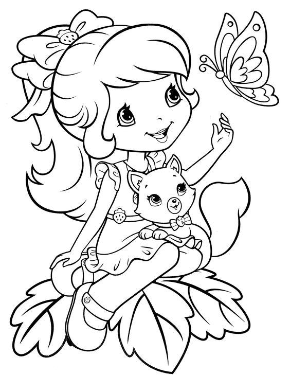 Hình tô màu công chúa dâu tây dễ thương